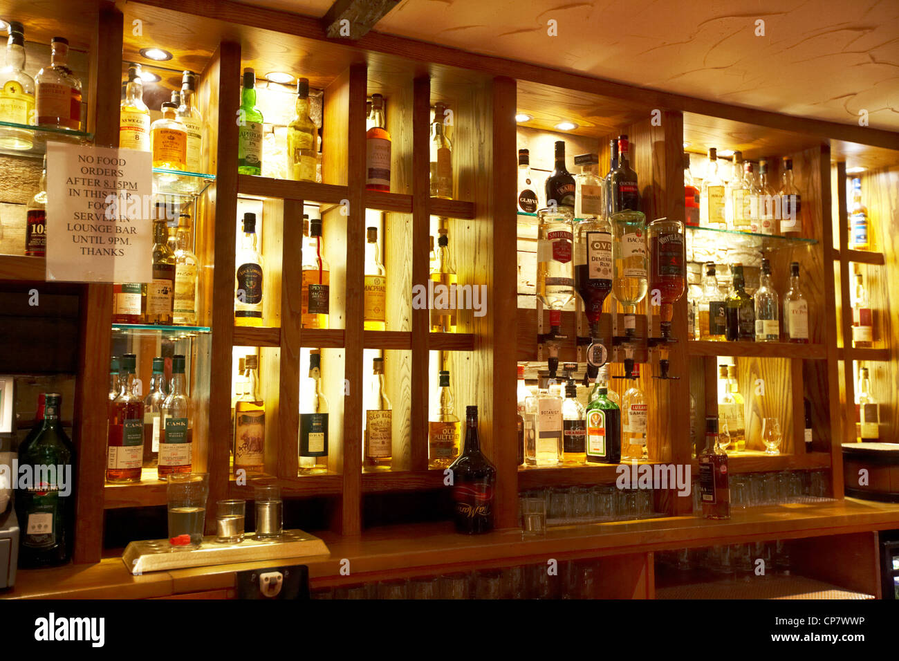 selection of spirits and whiskies in a pub in Scotland UK - Stock Image