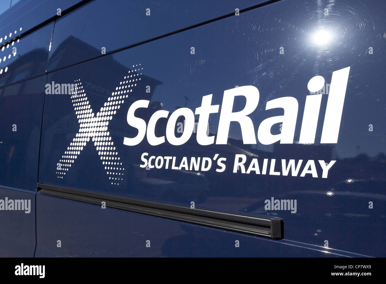 scotrail logo scotlands railways on a vehicle Scotland UK - Stock Image