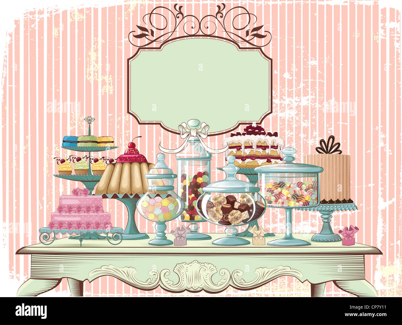 Old-fashioned table setting with different cakes and glass jars with variety candies  sc 1 st  Alamy & Old-fashioned table setting with different cakes and glass jars with ...