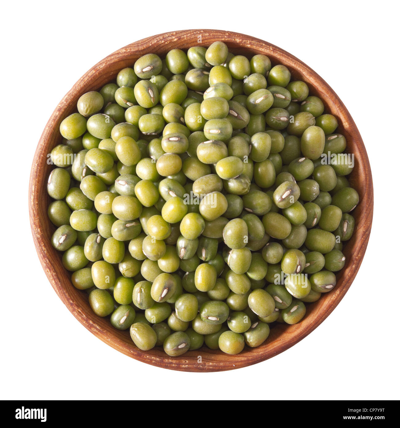 wooden bowl full of green mung beans isolated on white background - Stock Image