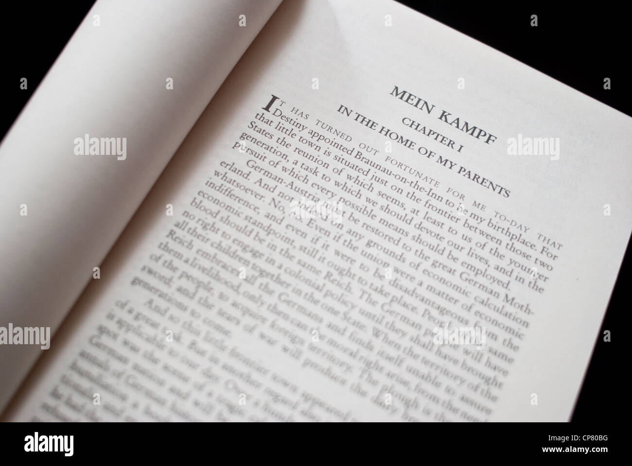 First page of 'Mein kampf' ( the English translation available in India) - Stock Image