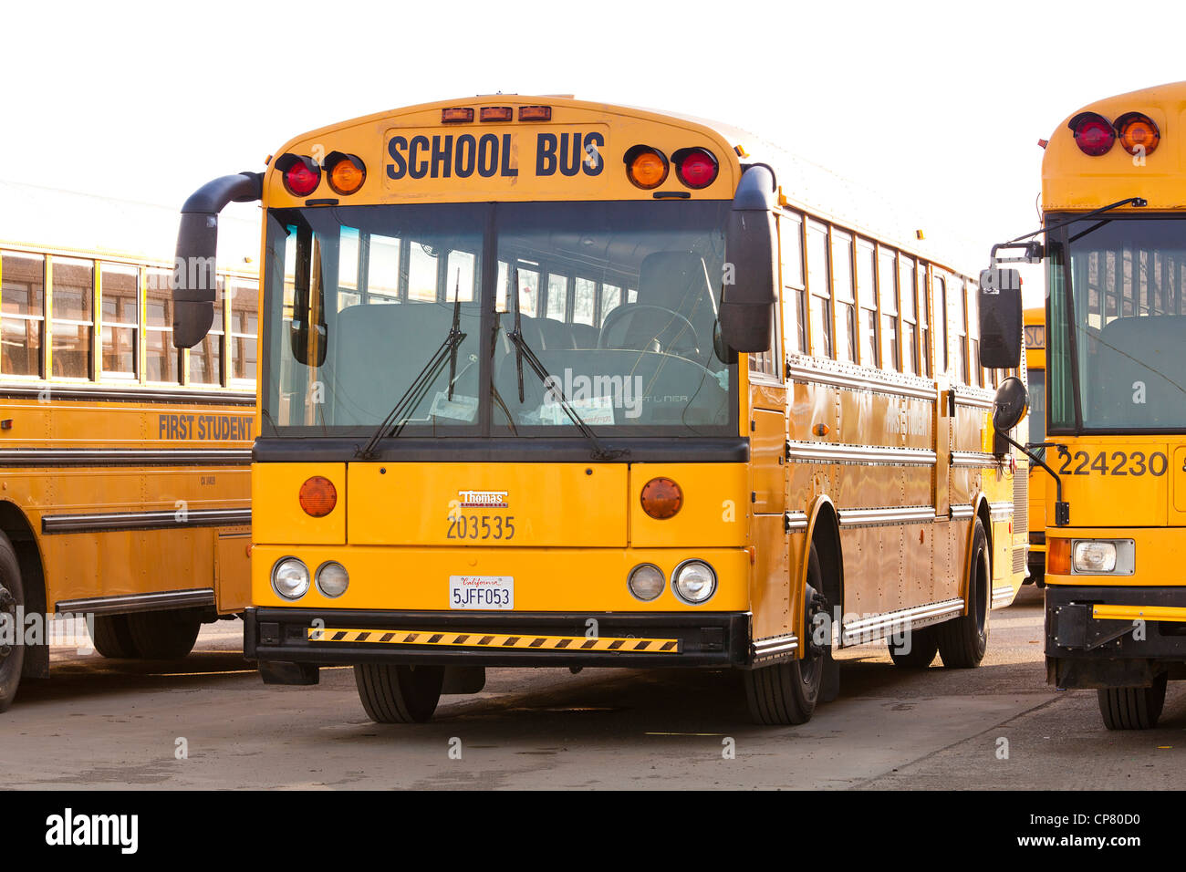 Parked US school buses - California USA - Stock Image