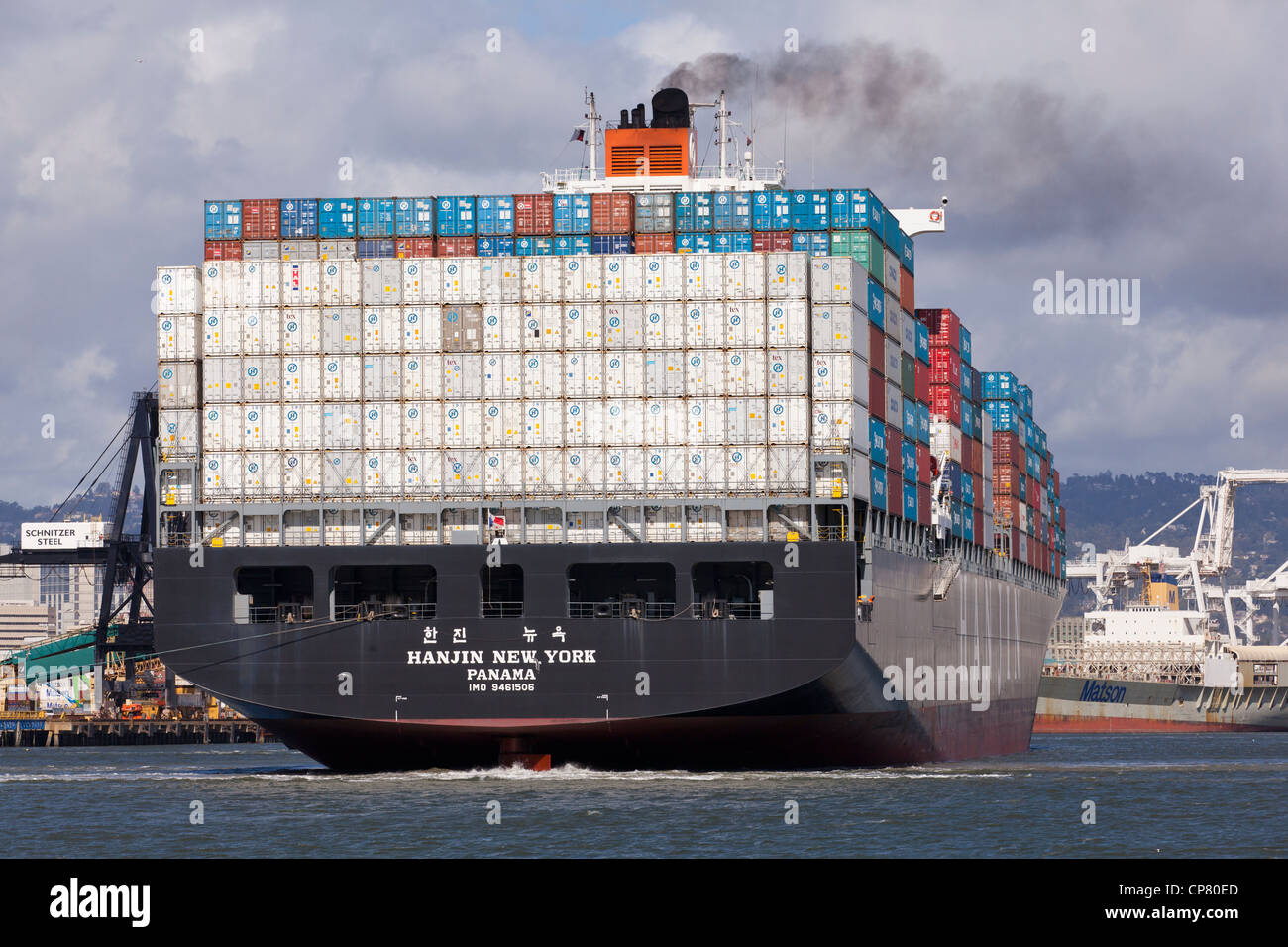 The stern side of a Hanjin cargo ship showing stacked containers at port - San Francisco, California USA - Stock Image