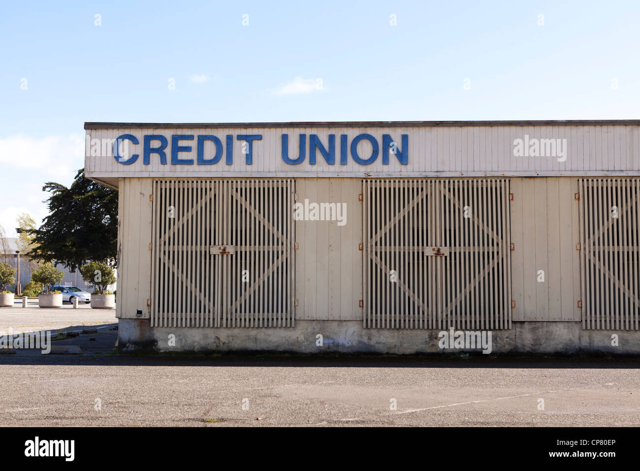 Closed credit union building - California USA - Stock Image