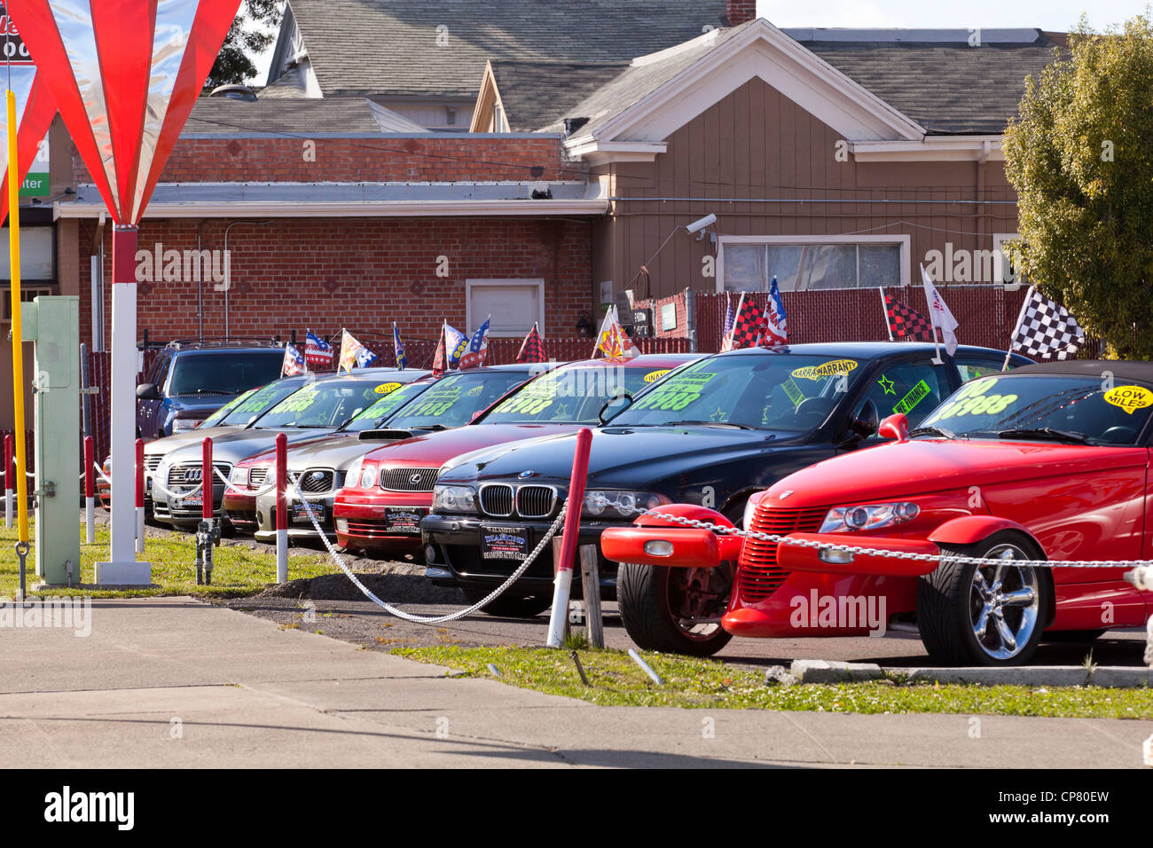 cars on a used car sales lot california usa stock photo 48119201 alamy. Black Bedroom Furniture Sets. Home Design Ideas