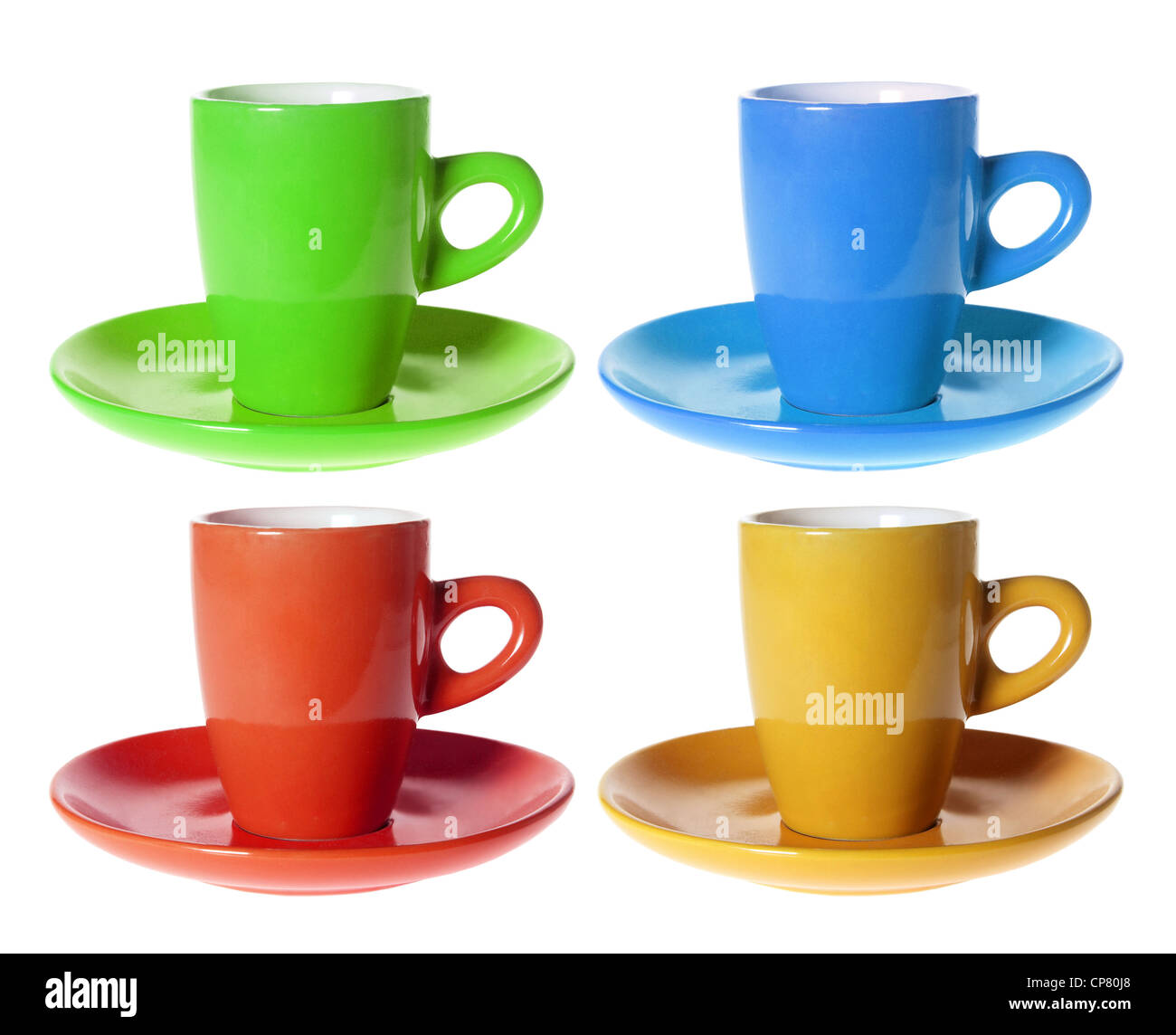 Color Cups and Saucers - Stock Image
