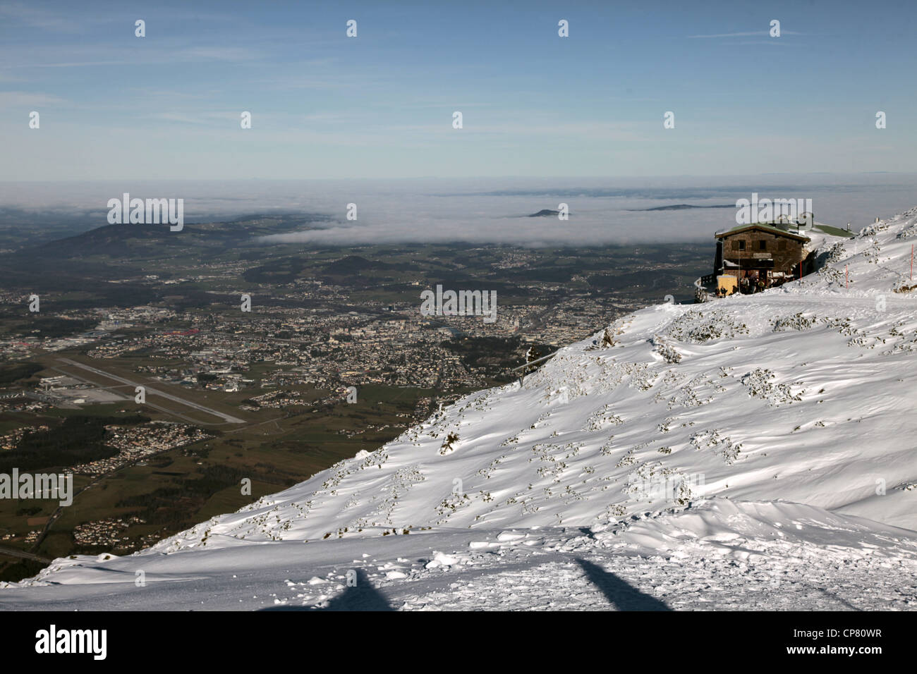 LOG CABIN SALZBURG AIRPORT & CITY FROM UNTERSBERG MOUNTAIN AUSTRIA 28 December 2011 Stock Photo