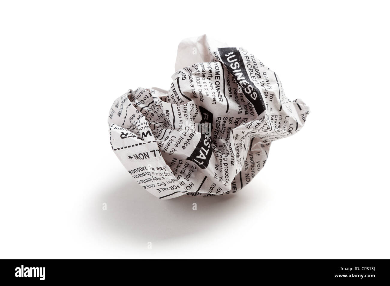 Newspaper ball, business concept. - Stock Image