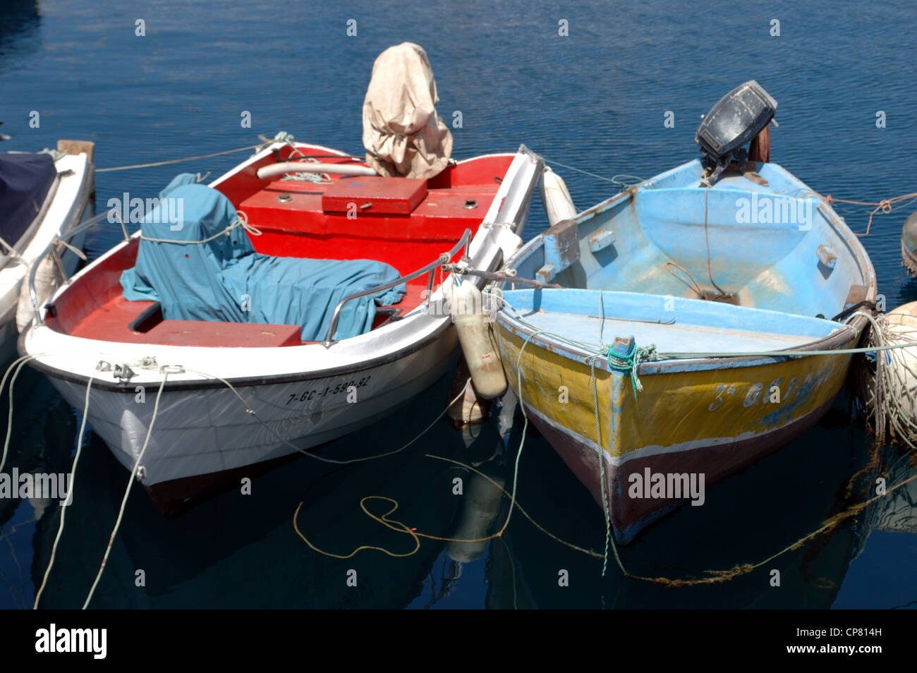 Boats in the harbour at Puerto Mogan, Gran Canaria - Stock Image