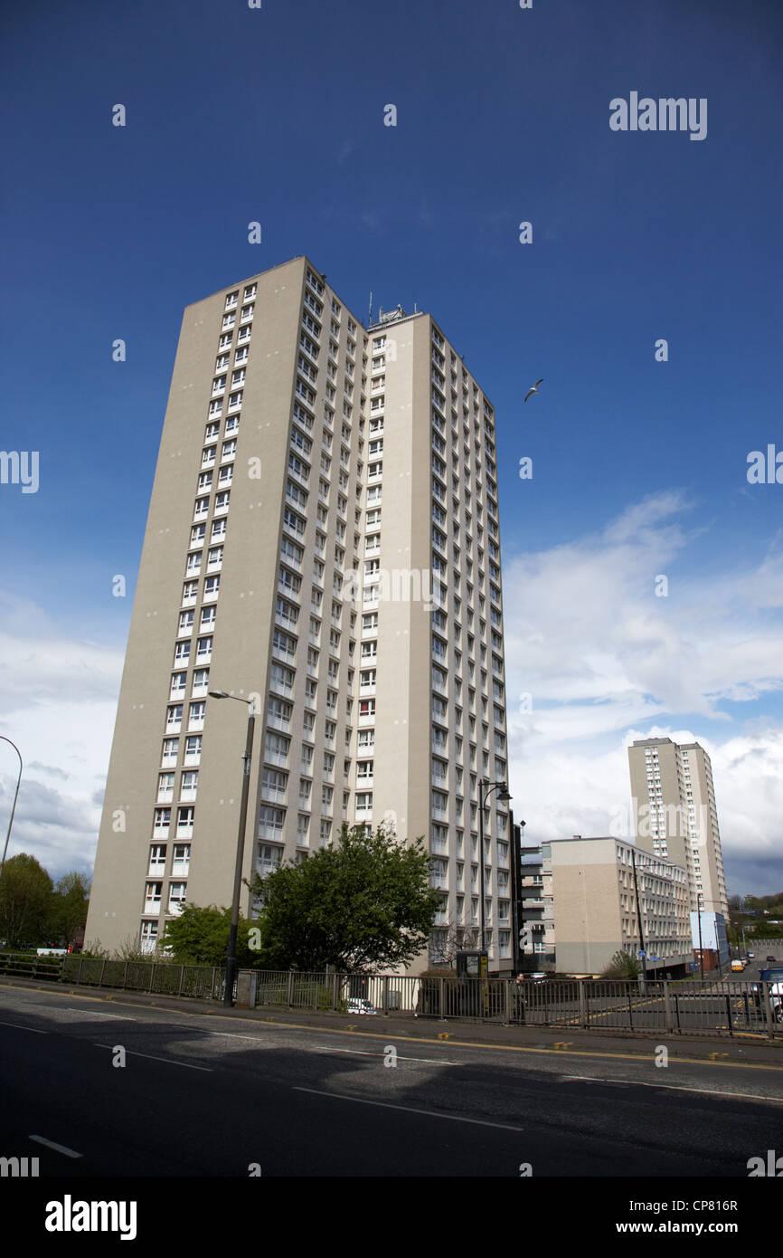 tower housing block apartments in cowcaddens Glasgow Scotland UK - Stock Image