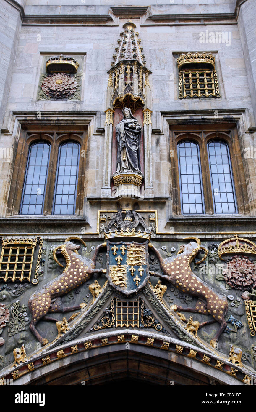 Crest on the entrance gate to Christ's College, Cambridge, England - Stock Image