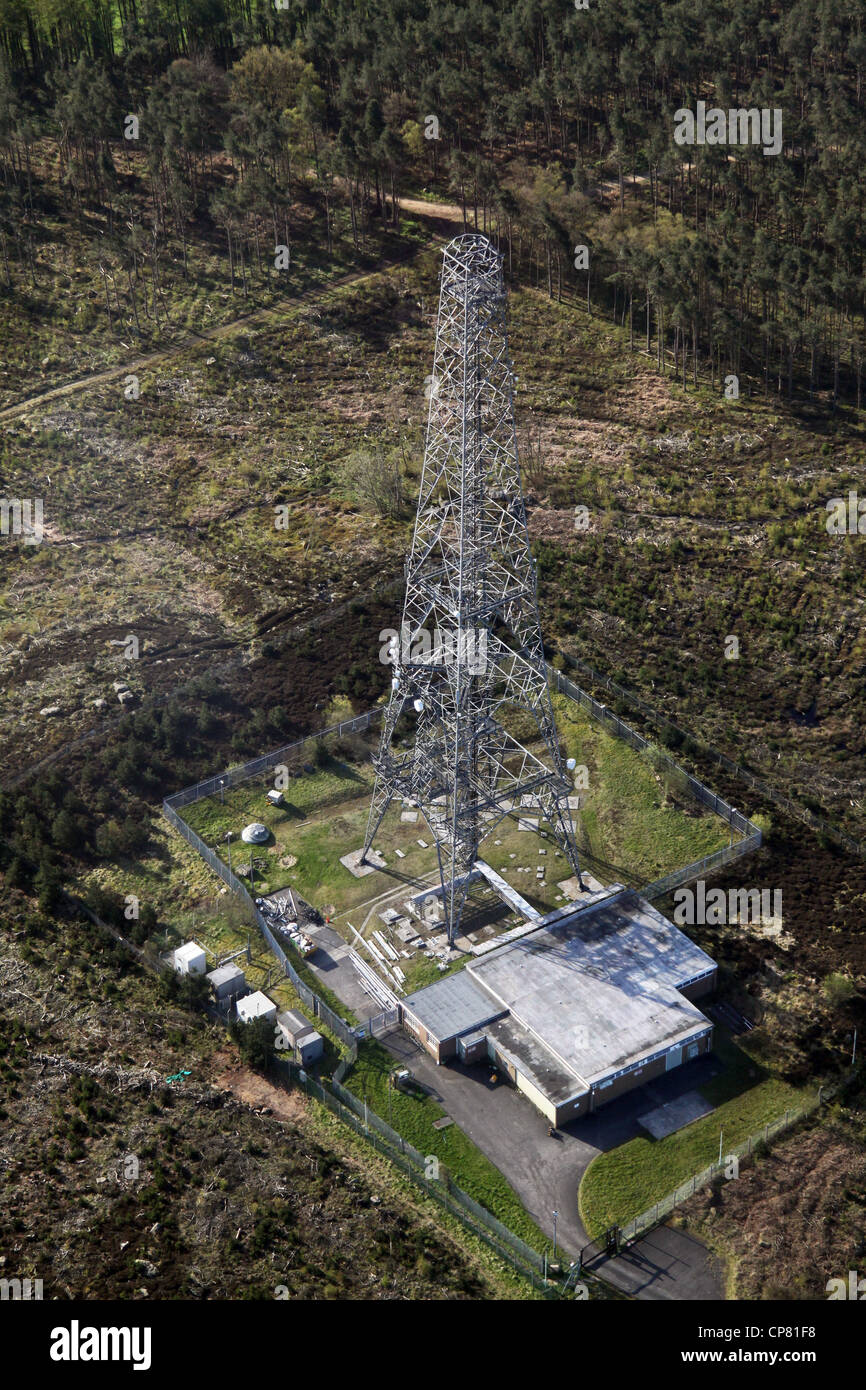 aerial view of a communications mast, telephone aerial - Stock Image