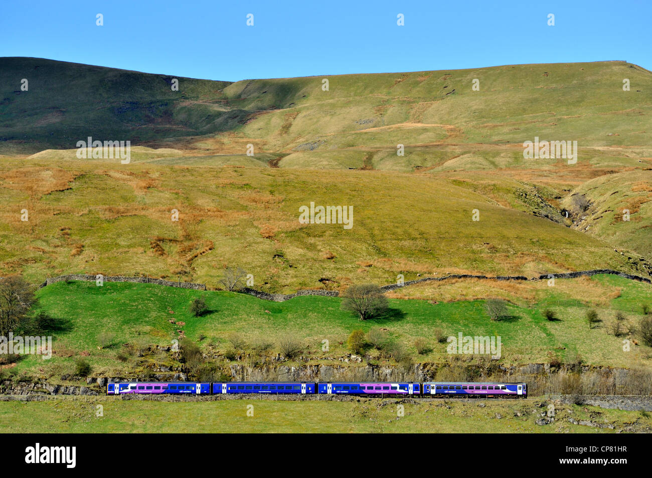 Northern Rail pasenger train on Settle to Carlisle line. Mallerstang, Yorkshire Dales National Park, Cumbria, England, - Stock Image