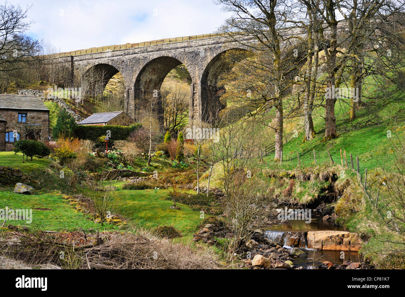 Aisgill Viaduct, Settle to Carlisle rail line. Mallerstang, Yorkshire Dales National Park, Cumbria, England, United - Stock Image
