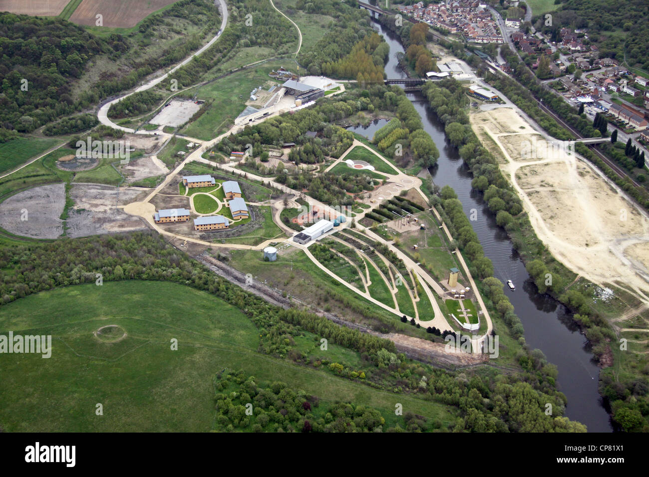 aerial view of the Earth Centre, now closed, at Conisborough South Yorkshire - Stock Image