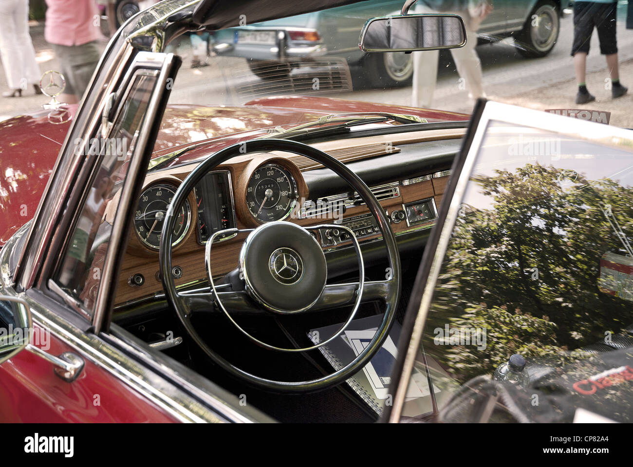 Interior And Dashboard Of An Old Mercedes 220 SE Cabriolet