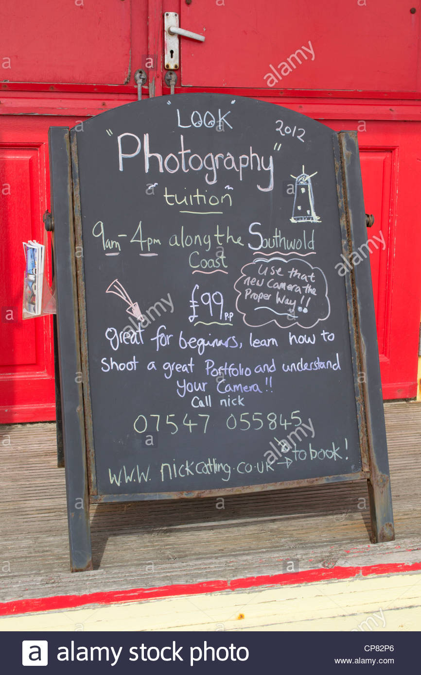 Sign at Southwold, Suffolk, offering photography tuition. - Stock Image
