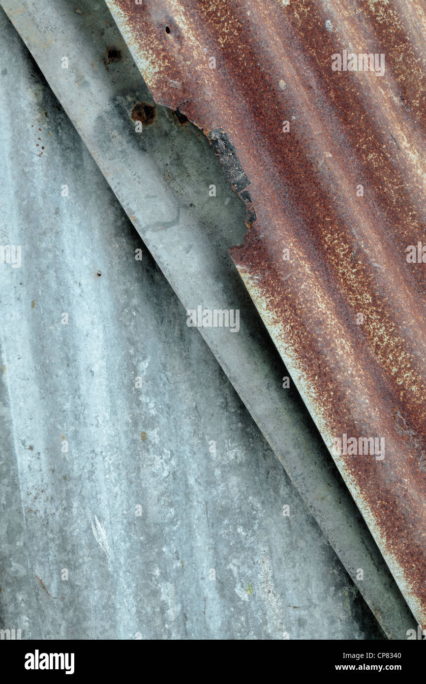 Close up of a rusty corrugated tin shed - Stock Image