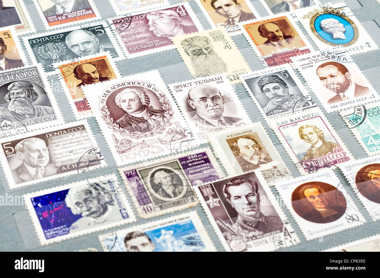 Vintage CCCP (Russia) postage stamps in book Stock Photo