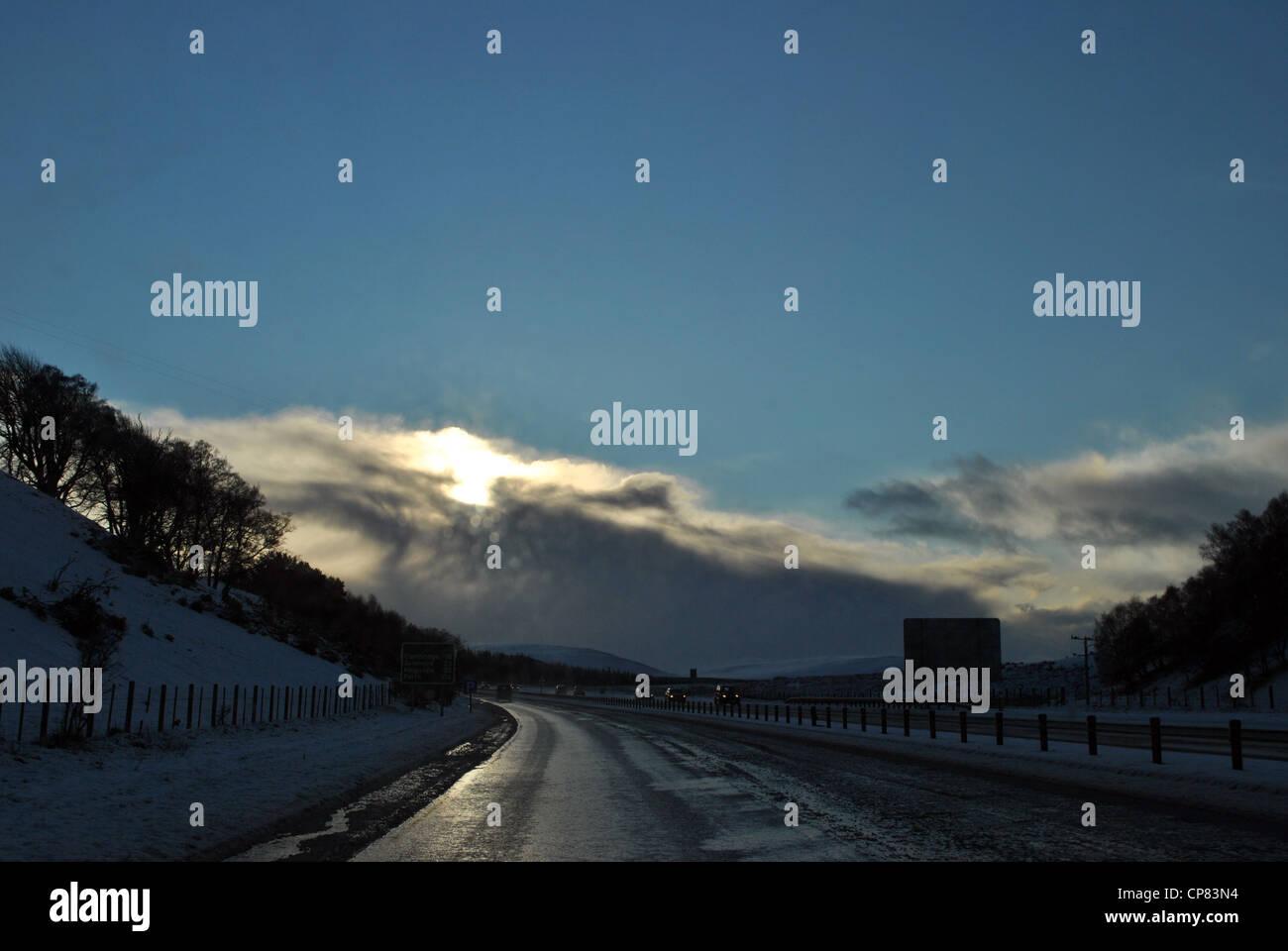 Driving A9 Winter Scotland Scottish Highlands - Stock Image