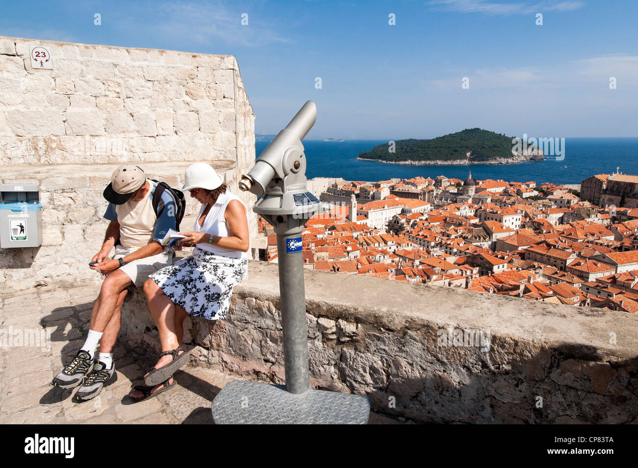 Tourists on the city walls at Dubrovnik, Croatia, Europe - Stock Image