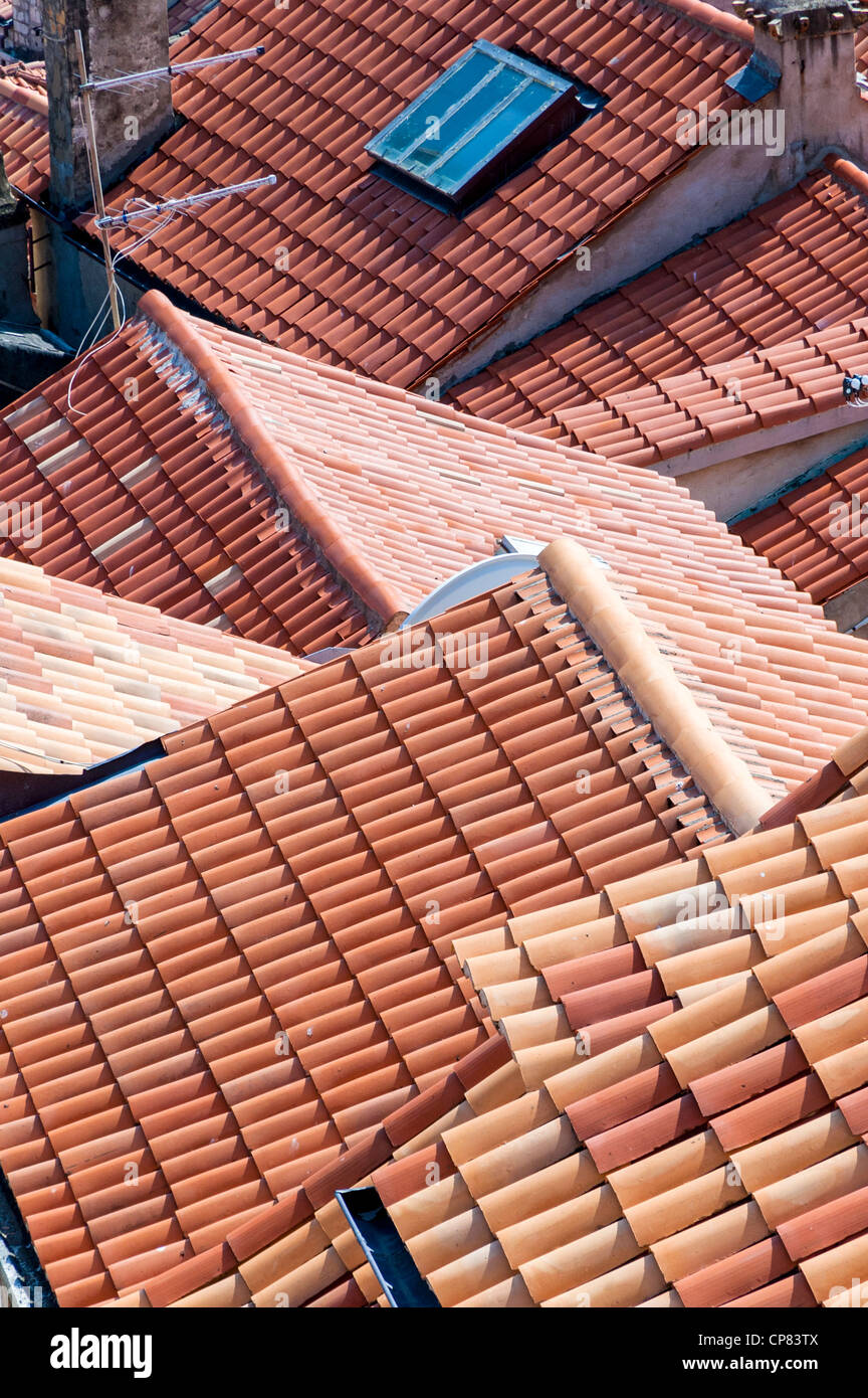 Red terracotta rooftops, Croatia, Europe - Stock Image