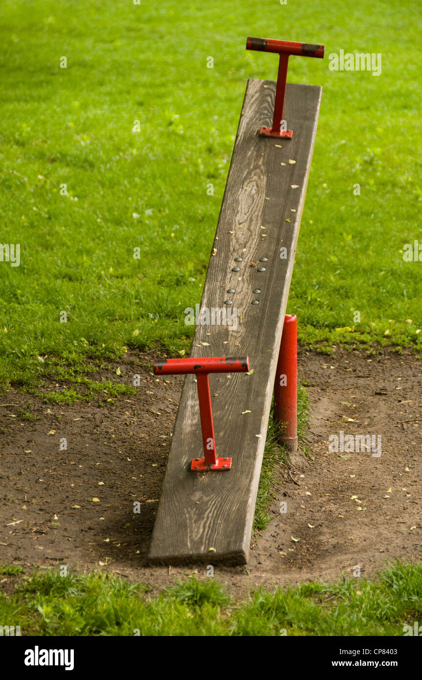 Wooden Seesaw In A Playground Stock Photo 48121923 Alamy