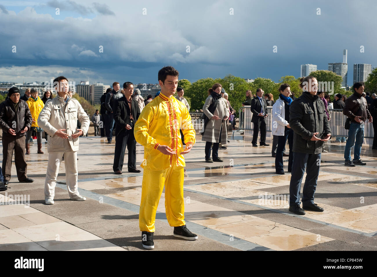 Paris, France - People doing tai chi and qi gong exercises