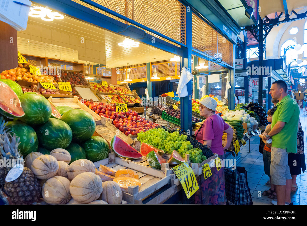 Stall in the Great Market Hall, Budapest, Hungary, Europe - Stock Image