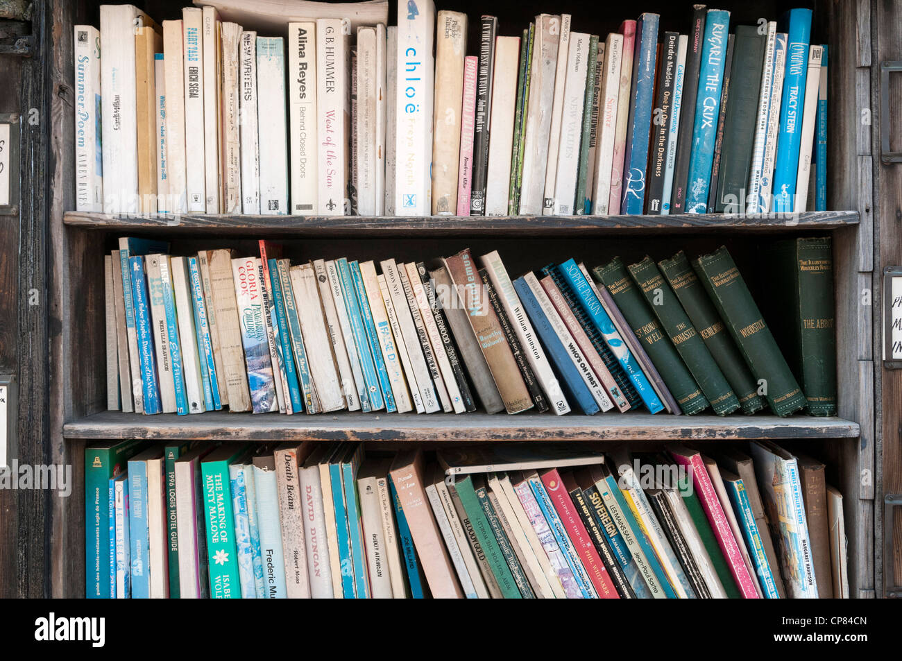 Bookshelf with old books - Stock Image