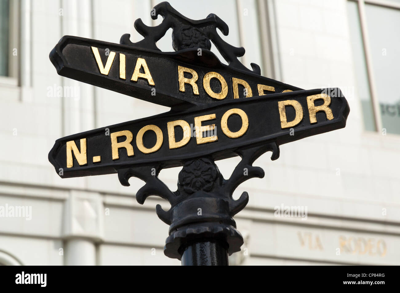 Rodeo Drive, street sign post, Beverly Hills, Los Angeles, California, USA - Stock Image