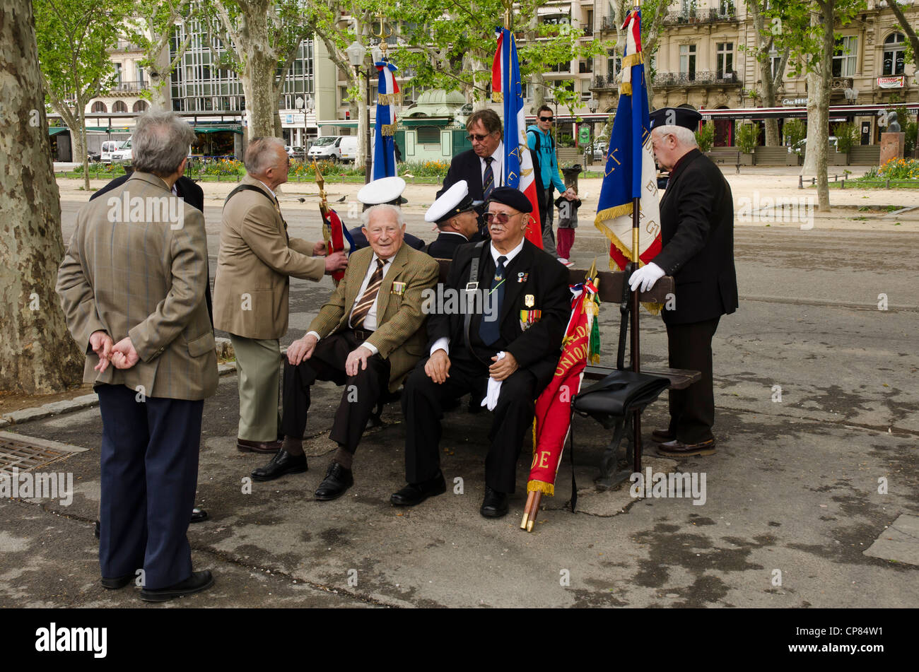 Veterans of World War II assembling before a ceremony in Montpellier April 29, 2012. - Stock Image