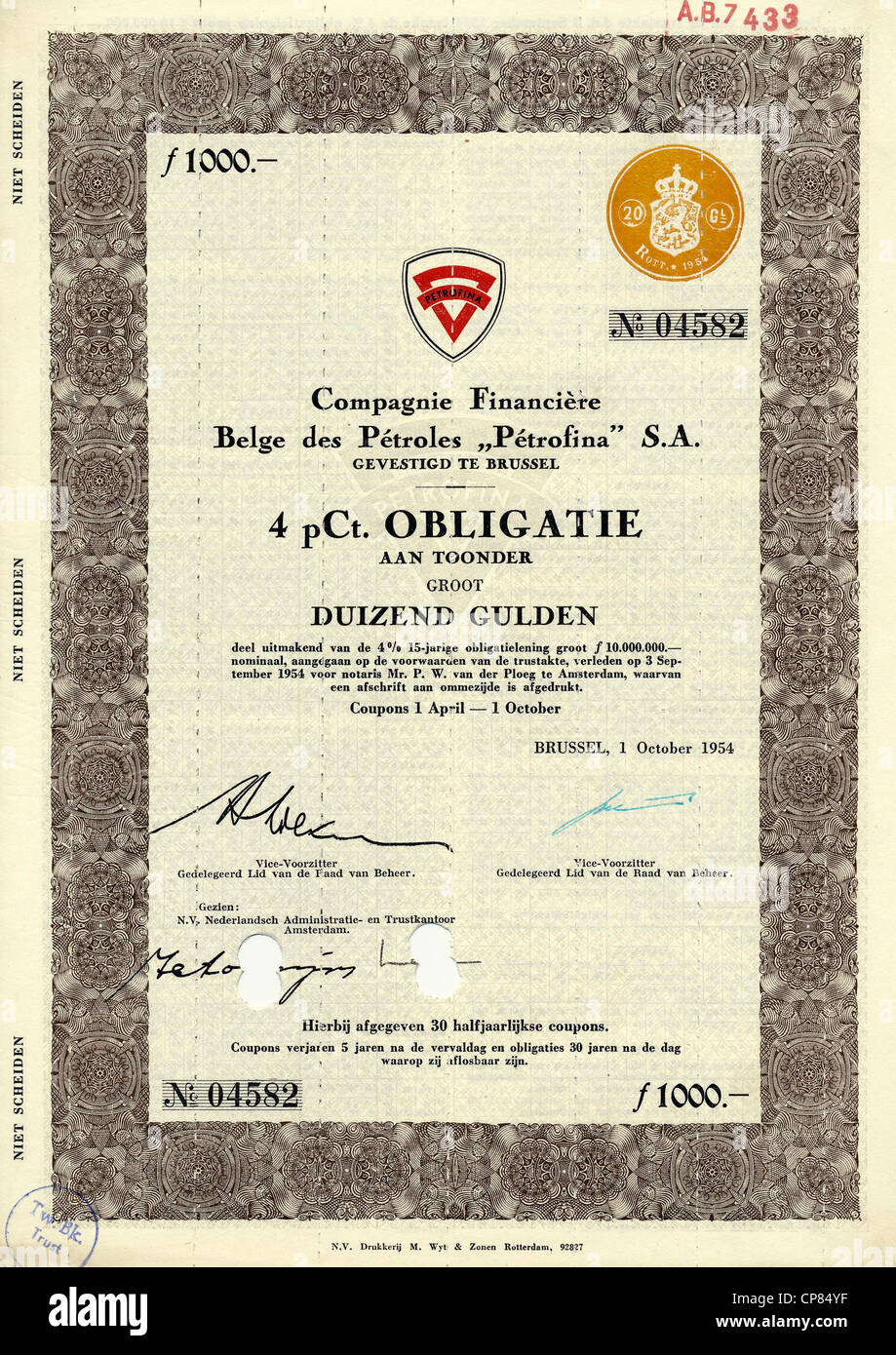 Historic share certificate from Belgium, 1000 Guilders, petroleum production, petrol stations, merged with Total - Stock Image
