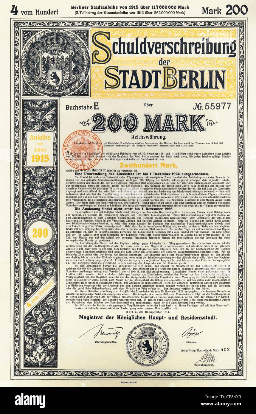 reichsmarks obligation, 1914, Berlin, Germany, Europe, Schuldverschreibung über 200 Reichsmark, Stadt Berlin, - Stock Image