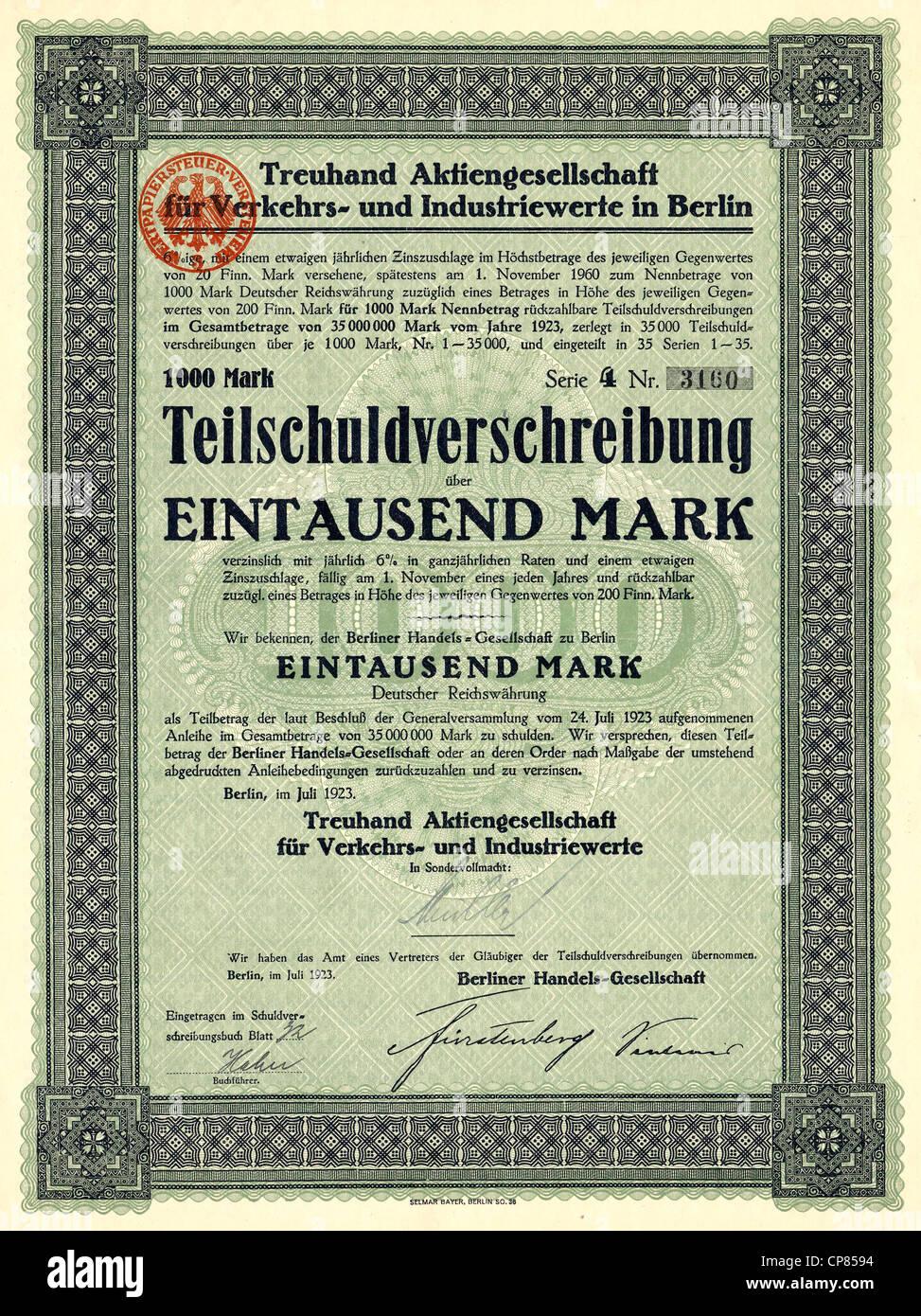 Historical share certificate, Historische Aktie, Treuhand Aktiengesellschaft für Verkehrs- und Industriewerte - Stock Image