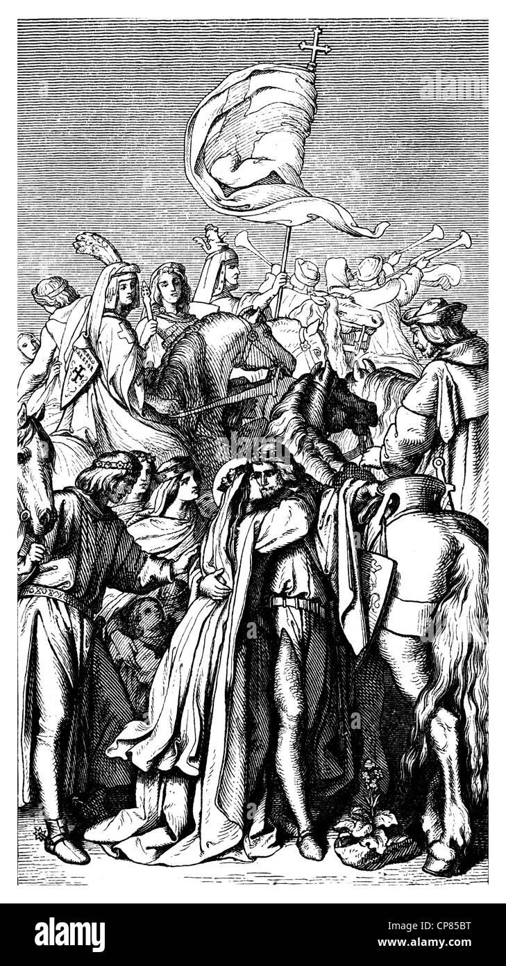 Landgravess Elizabeth of Thuringia or Elizabeth of Hungary, 1207 - 1231, saying goodbye to her husband Louis of Stock Photo
