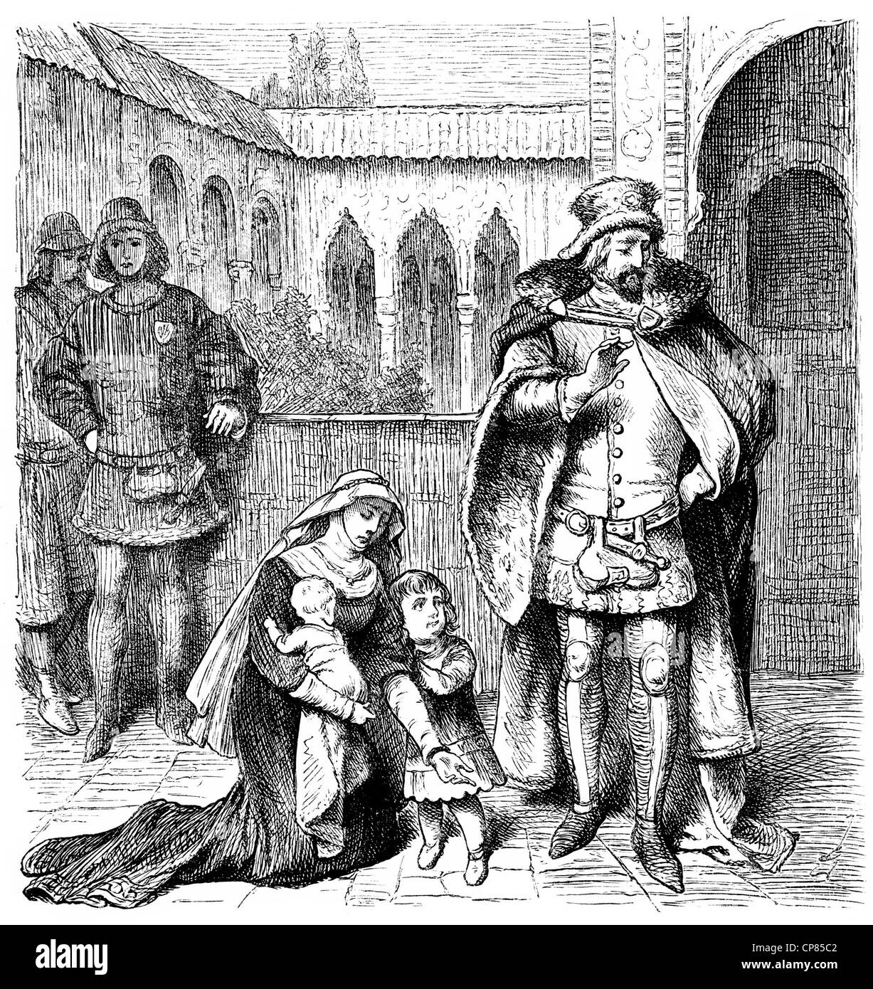 Agnes de Castro, 1325 - 1355, Queen of Portugal, kneeling in front of King Alfonso IV, historical engraving, 19th Stock Photo