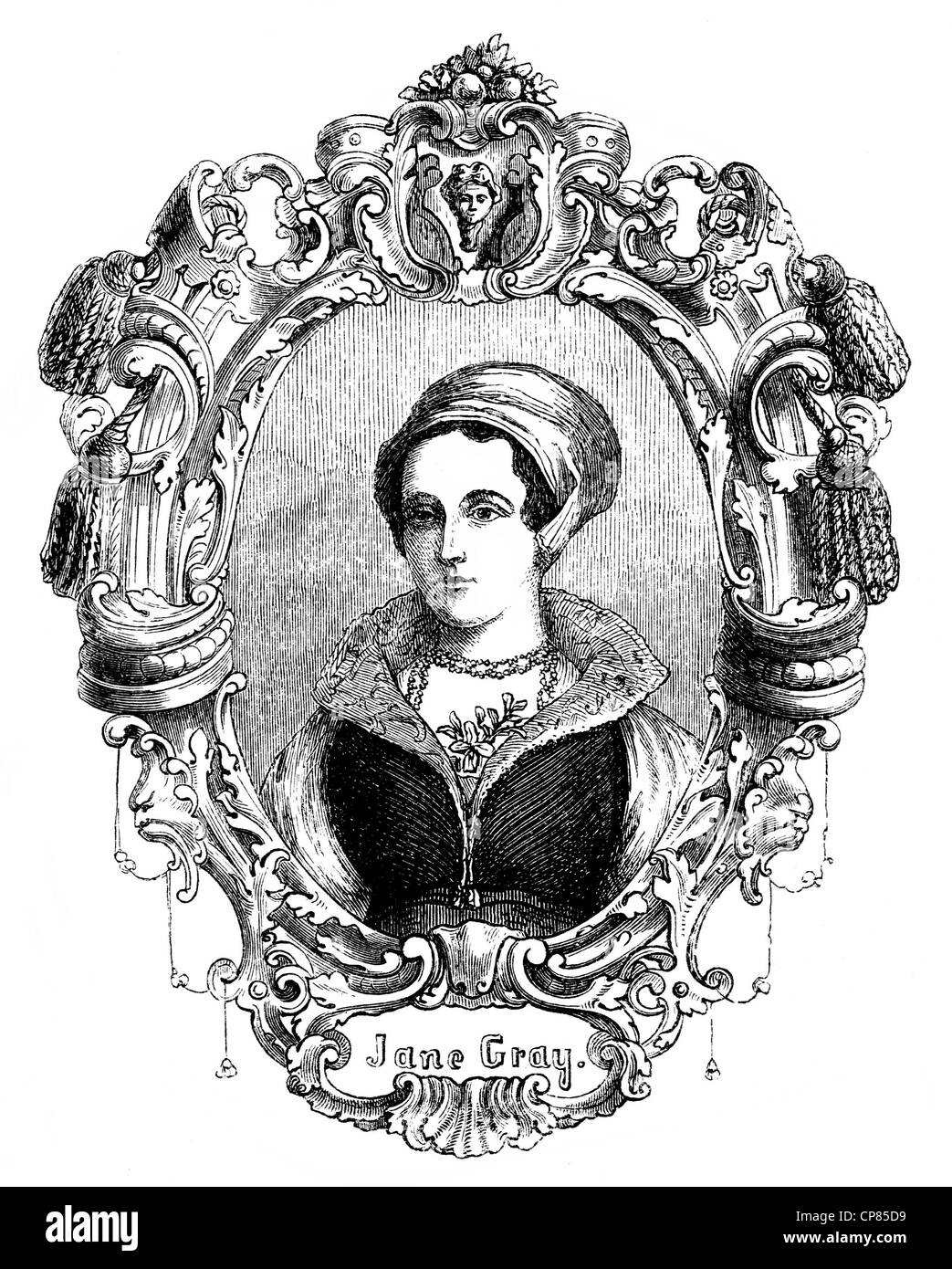 Lady Jane Grey, 1536 - 1554, briefly Queen of England, nicknamed Nine Days Queen or Queen of thirteen days, historical Stock Photo