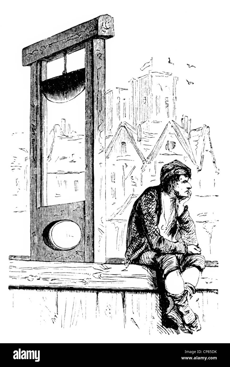Bored hangman with guillotine, French Revolution, historical engraving, 19th Century , Gelangweilter Henker mit - Stock Image