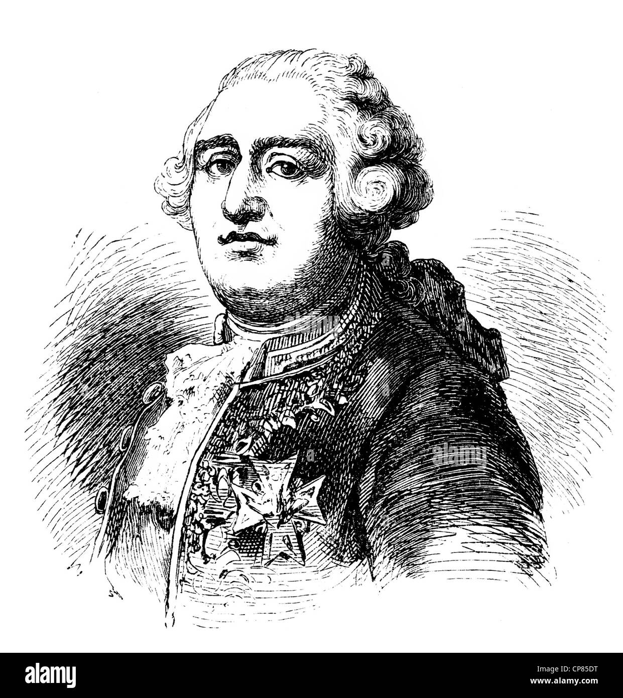 Louis XVI. Augustus of France, 1754 - 1793, King of France and Navarre, French Revolution, historical engraving, Stock Photo
