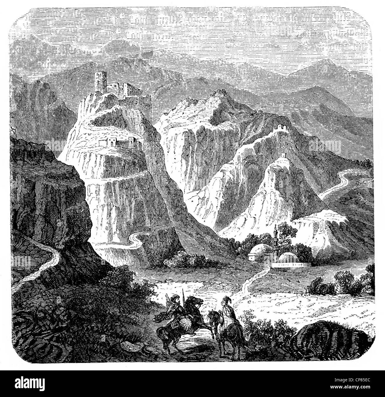 Castle on a rock near Batroun, Lebanon, historical engraving, 19th Century , Burg auf einem Felsen bei Batroun, - Stock Image