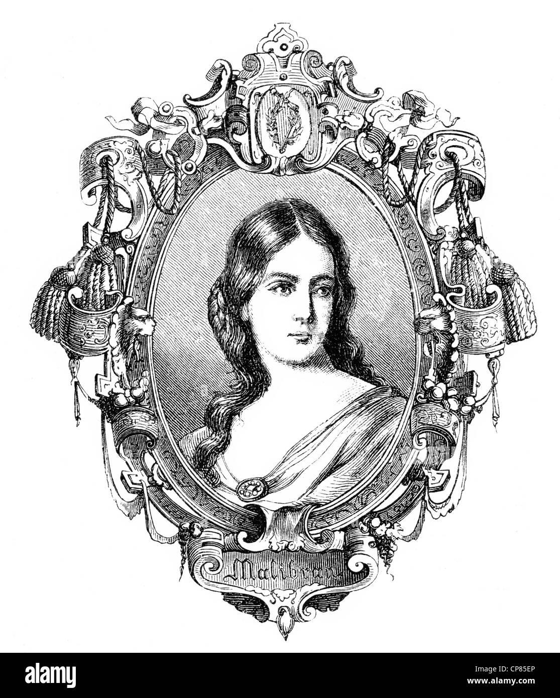 María de la Felicidad Malibran, born García, or La Malibran, 1808 - 1836, a French opera singer, mezzo - Stock Image