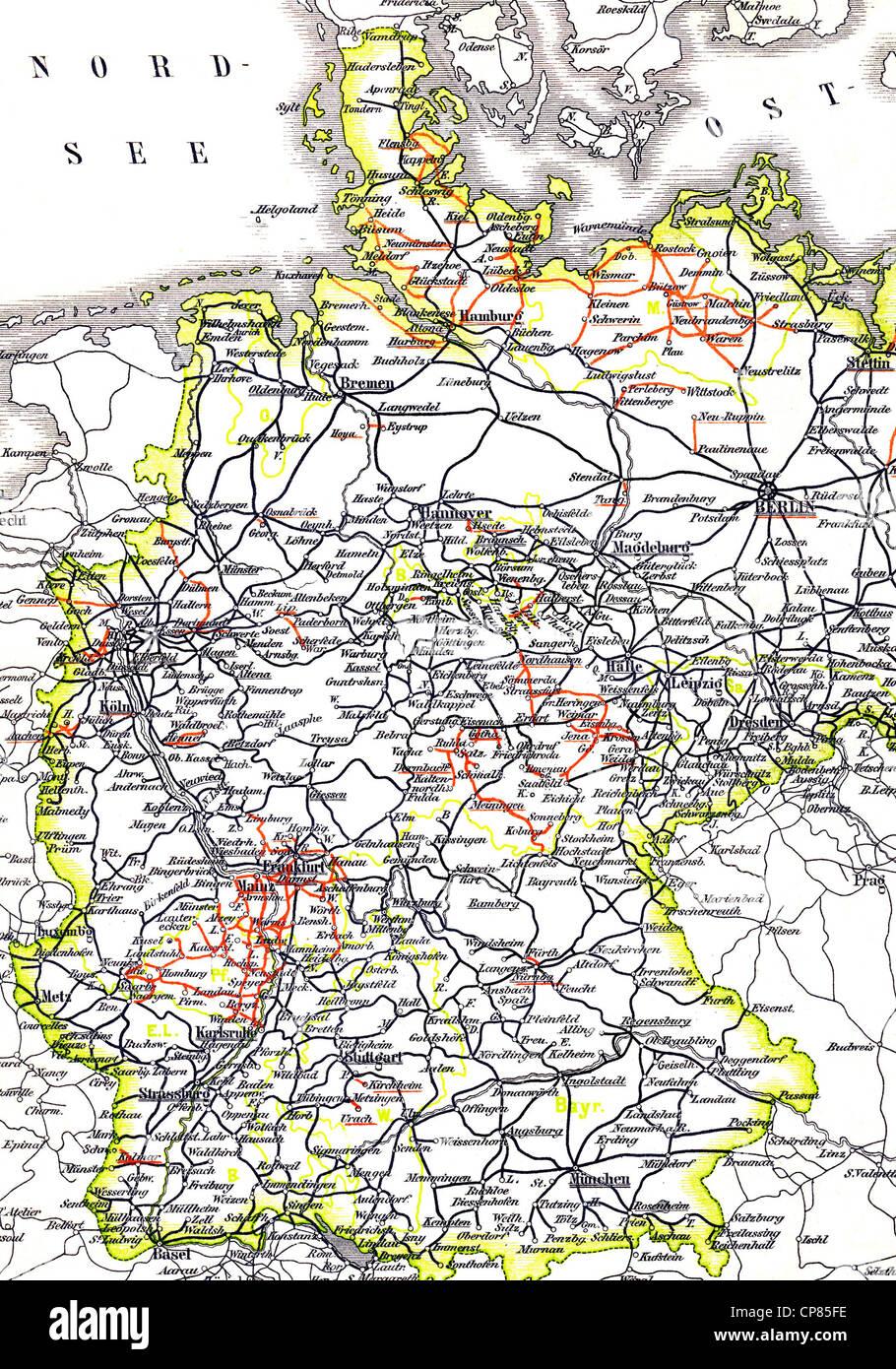 Map, marked state railways marked black, private railways marked red, 1886, Germany, Europe, Landkarte mit eingezeichneten - Stock Image