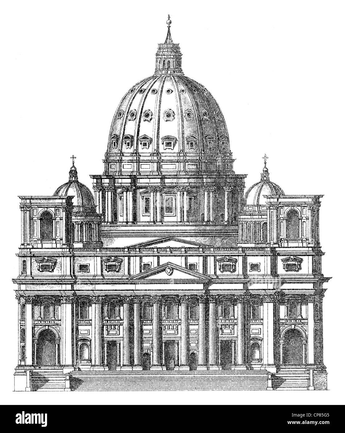 Historische, zeichnerische Darstellung, die Peterskirche in Rom, Vatikan, Italien, oder Petersdom, Basilika St. - Stock Image