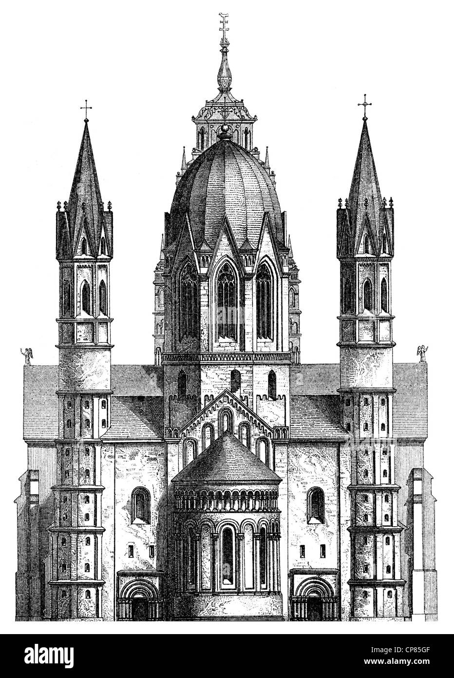 Mainz Cathedral or St. Martin's Cathedral, triple nave Romanesque pillar basilica, cathedral church, Mainz, - Stock Image
