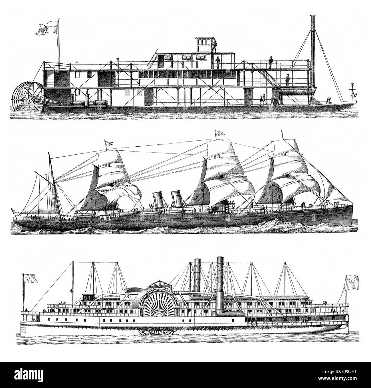 vessels powered by steam engines, steam vessels or steamers, 19th Century, Historische, zeichnerische Darstellung, - Stock Image