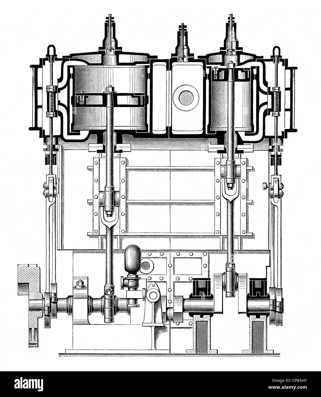 Receiver compound engine for the propulsion of ships' propellers, steam engine, piston heat engine, the thermal - Stock Image