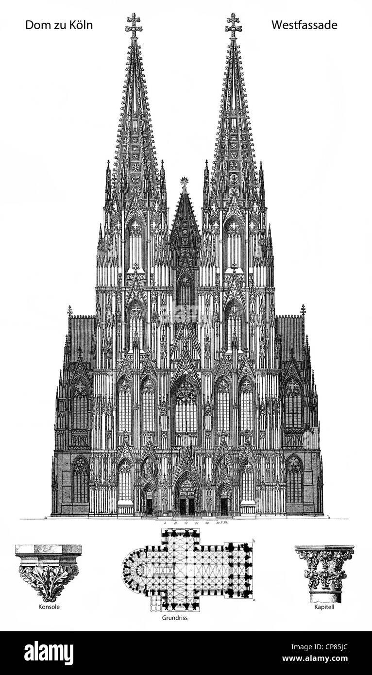 Historic illustration of Cologne Cathedral, Historische Darstellung, Westfassade und Grundriss, Dom zu Köln, Kölner Stock Photo