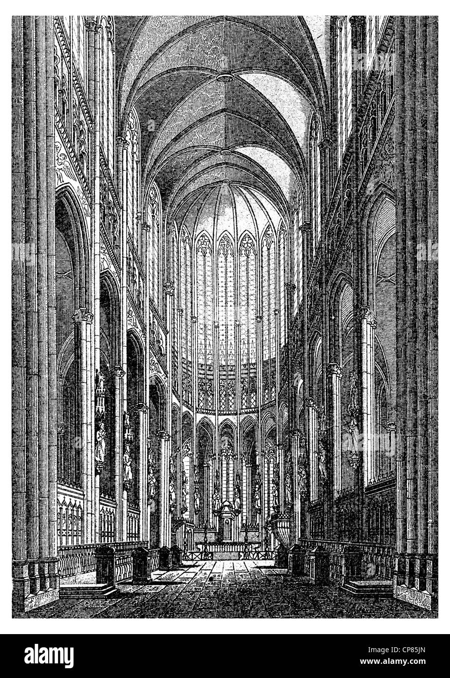 Historic illustration of Cologne Cathedral, Historic illustration of Cologne Cathedral, Historische, zeichnerische Stock Photo