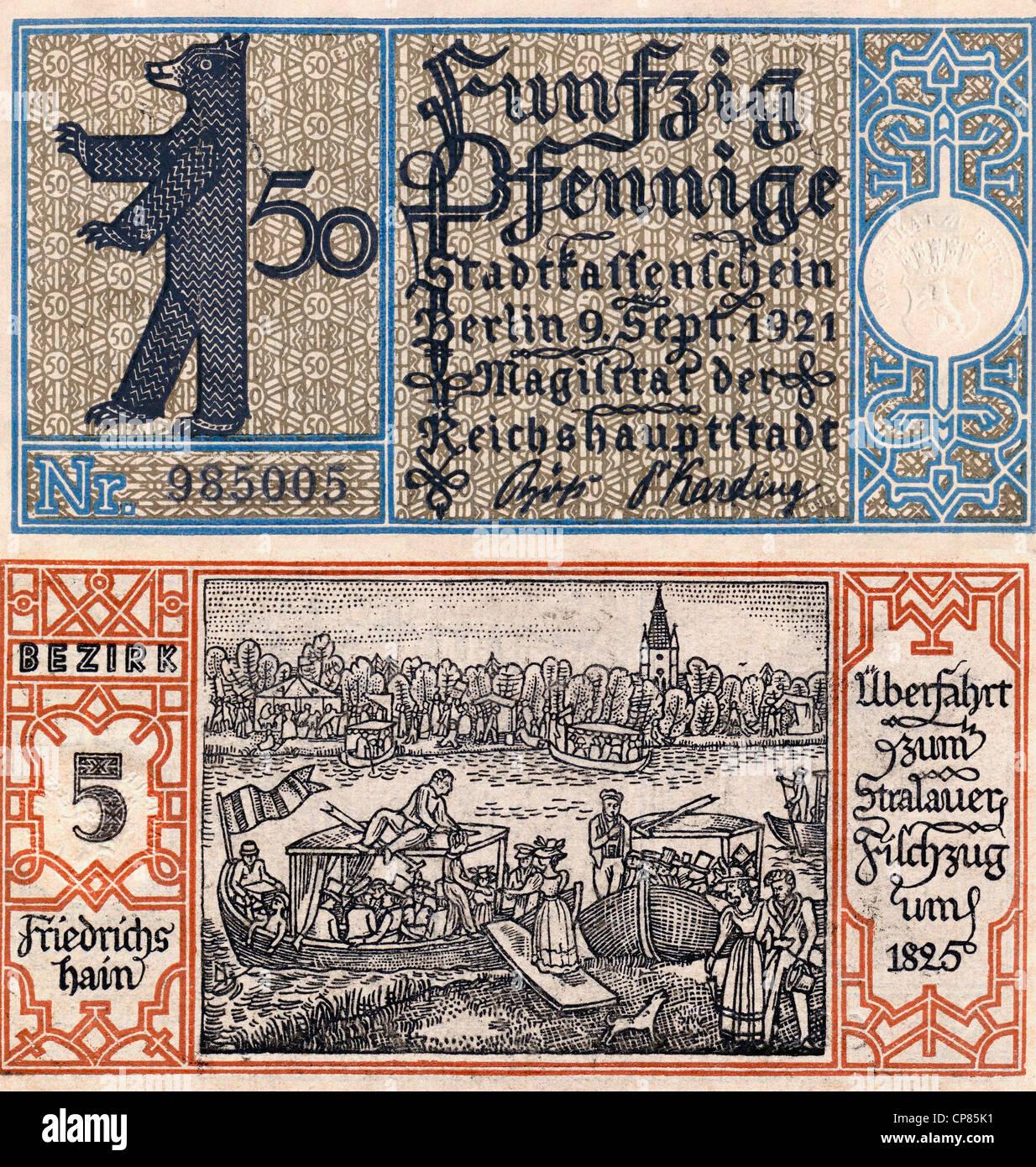 Notgeld aus Berlin Friedrichshain, 1921, 50 Pfennig, Vorder- und Rückseite, Motiv Berliner Bär und Überfahrt - Stock Image